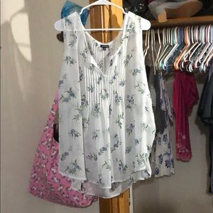 Torrid Blue Floral Sleeveless Blouse Size 3
